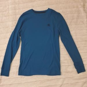 Express Men's Waffle Thermal Shirt Blue Sz Small